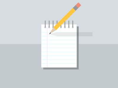 The Story of a PTA (Interview) simple flat paper icon write pencil note notepad blog webpt vector illustration