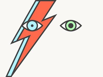 David Bowie/Ziggy Stardust minimalist minimal flat bolt lighting eye musician music ziggy stardust david bowie vector illustration