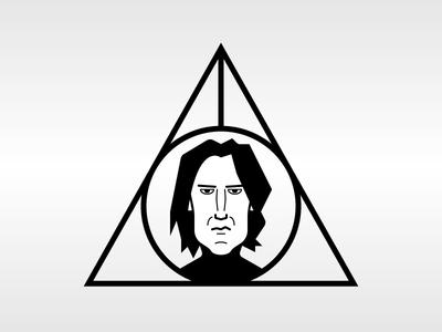 Severus Snape - Alan Rickman character hogwarts severus snape magic line rip wizard harry potter portrait alan rickman vector illustration