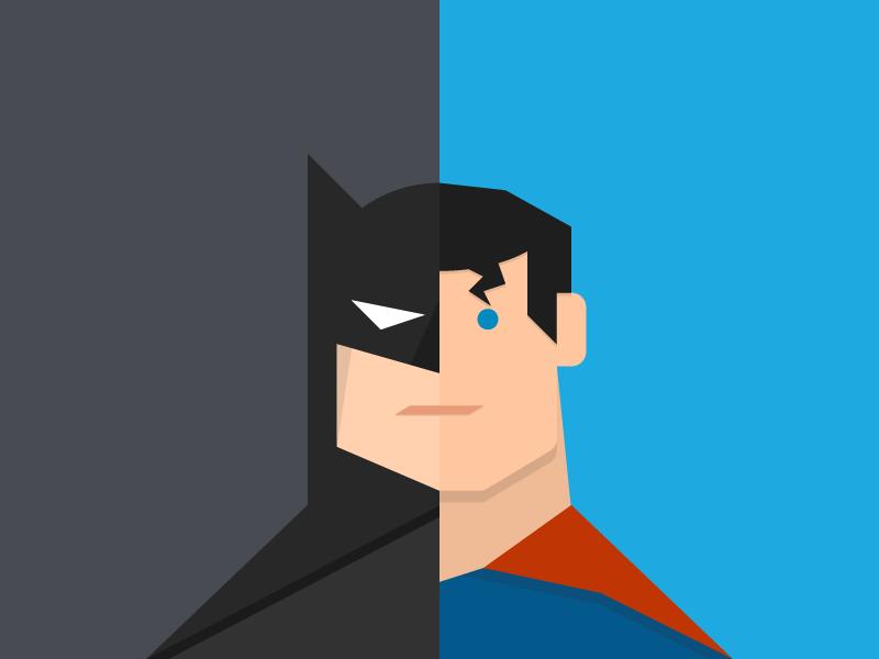 PT v Outcomes: Dawn of Value - Batman v Superman dc hero superhero comics superman batman webpt blog vector illustration