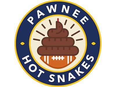 Pawnee Hot Snakes parks and rec fantasy football icon poop parks and recreation snake football graphic design design logo vector illustration