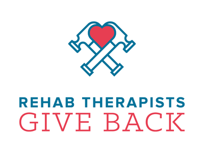 Rehab Therapists Give Back Logo love hammer heart design graphic design logo brand typography identity