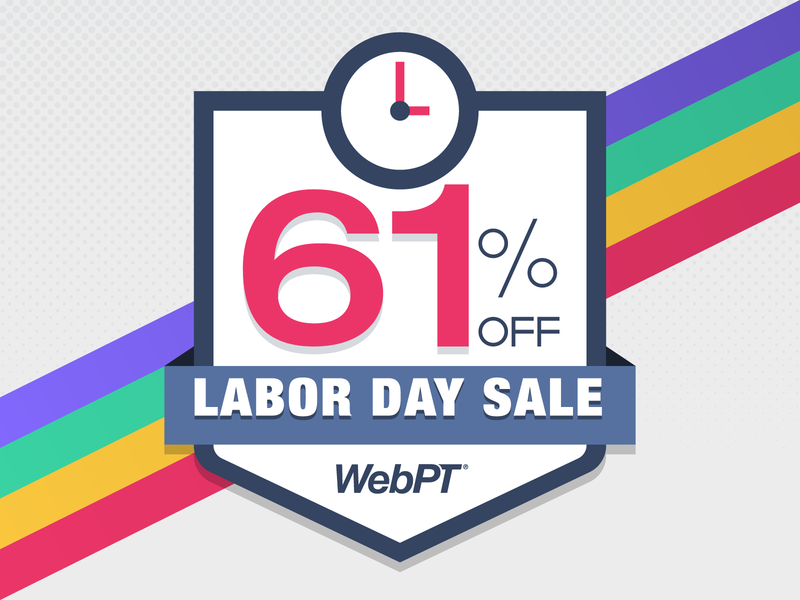 WebPT 61 Percent Off Labor Day Sale flash sale shield badge time rainbow sale clock illustration