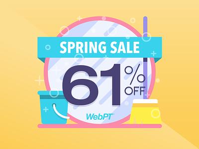 WebPT 61 Percent Off Spring Sale mirror broom bucket pastel flash sale deals cleaning sale clean illustration webpt