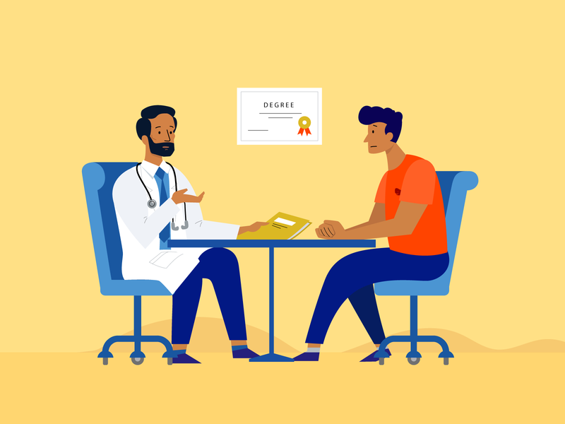 Doctor talking with pacient about cancer - illustration clean ui illustration uidesign cancer health pacient illustration doctor