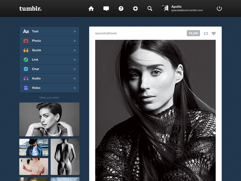 Tumblr. (1) tumblr webdesign redesign ui ux rooney mara