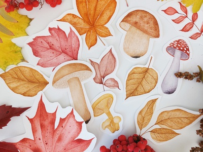 Autumn forest seamless pattern pattern design pattern watercolor illustration watercolor painting forest fall autumn leaves mushroom illustration watercolor