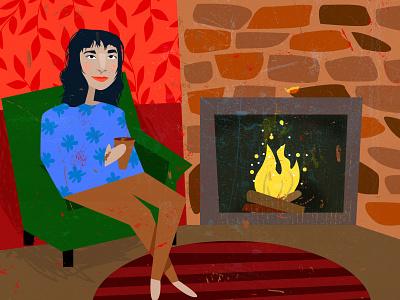 My Fireside illustration christmas card winter christmas fireside dribbbleweeklywarmup