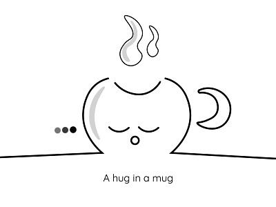 Cute mug weekly warm-up black and white illustraion art design adobe illustrator adobe photoshop