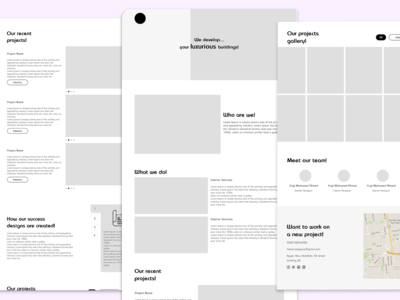 Wireframe for a construction company landing page