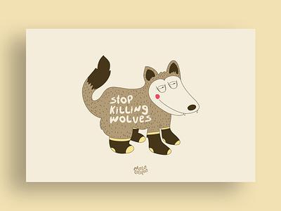 Proud wolves character design cartoon line illustration art jungle brown wolves animals vector illustration ai malacostra