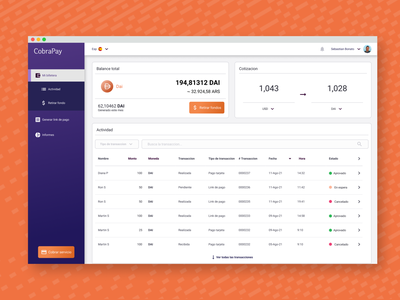 CobraPay - Crypto wallet design business ux wallet crypto dashboard ui