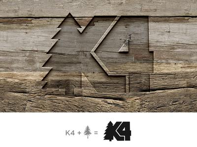 K4 woodensign engraved pine trees concept logo design logodesign initials