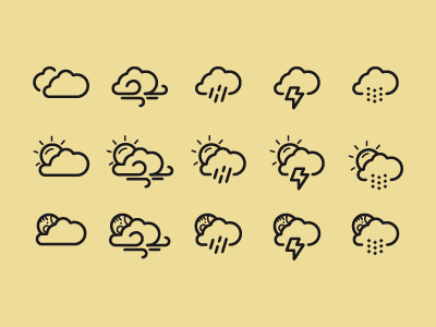Weather icons weather icons cloud clouds moon sun day night wind lightning snow rain