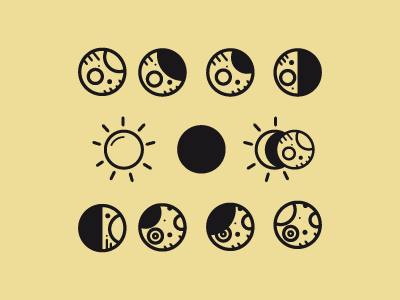 Lunar phases icons moon lunar phases sun eclipse waxing crescent gibbous