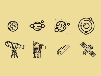 Space icons space icons cosmos galaxy astronaut satellite meteor earth planet