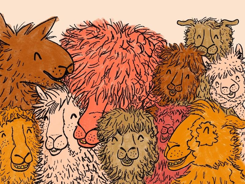 Getting Along character children kids playful fun silly goofy animals alpacas llamas illustration