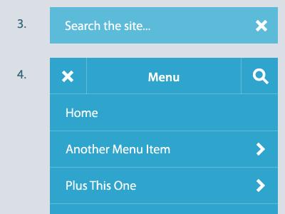 Mobile menu workflow minimal blue menu uiux mobile
