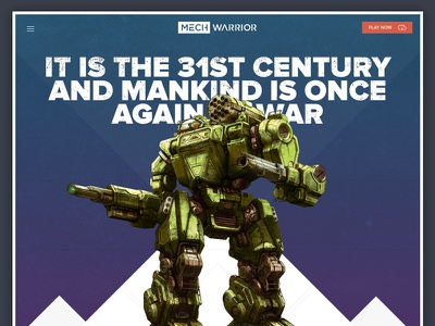 Daily UI 003 - Landing Page mechwarrior battletech thor summoner sharp triangles warrior dailyui mech ui page landing