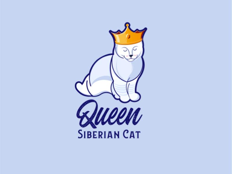 Queen Siberian Cat for sale animal brand logo logovektor illustatrion siberiancat queen logo logos cat