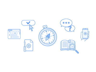 Faq Header Illustration screwdriver cog chat bubble browser button book compass outline header illustration icons faq