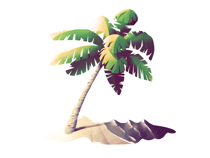 #4 Palm Tree beach tree illustration