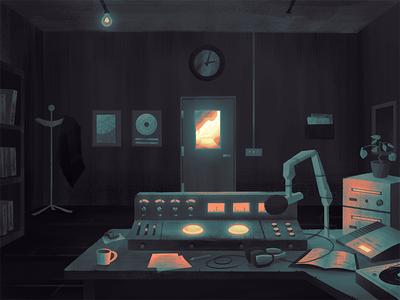 Radio Station radio room illustration