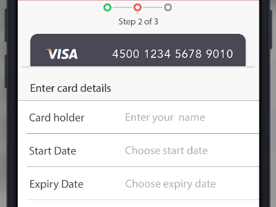 Payment Details payment screen mobile