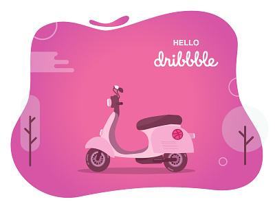 Hello Dribbble hellodribbble vector vespa scooter llustration first shot hello dribbble