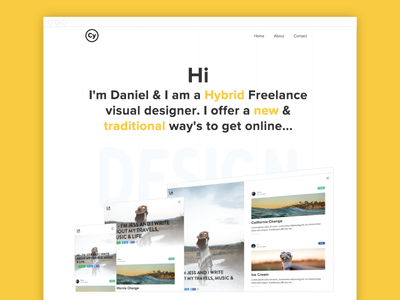Personal Rebrand - Hero Section type typography animation blog clean white grid wip personal agency freelance