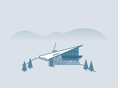 Therdbo Cabin australia vector winter snow tree mountain illustration icon cabin house building