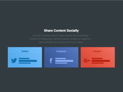 Social Share Cards cards home page twitter facebook clean moody dark landing page share social