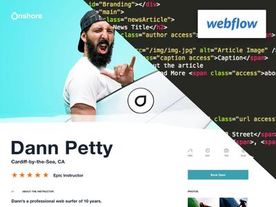Dann Petty + XD + Webflow = 🤙  🏄🏻 xd adobe frontend webflow expert clean surf school code surf dann petty webflow