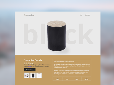 Stumpies timber wood plasso webflow landing page product single product shop e-commerce