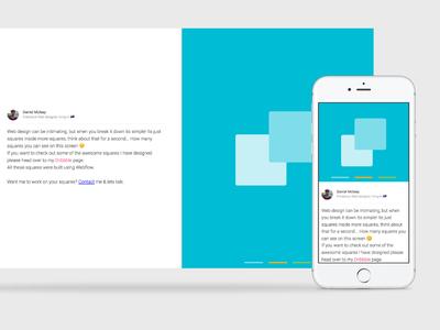 Squares inside Squares? webflow personal portfolio clean simple color block color freelance