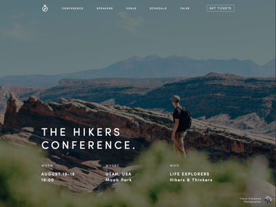 The Hikers Conference free outdoors walking hiking landing page hero template webflow event meetup conference