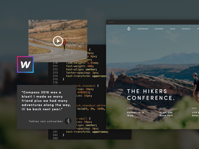 Compass - The Hikers Conference ui website landing template landing page conference free webflow