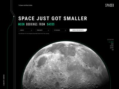 #spacedchallenge desktop rocket bookings dark space landing page spacedchallenge