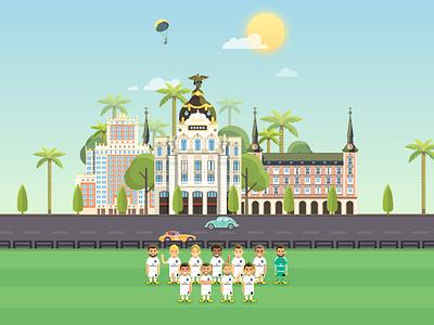 Madrid Poster benzema karim ronaldo cristiano football club real travel poster illustration madrid