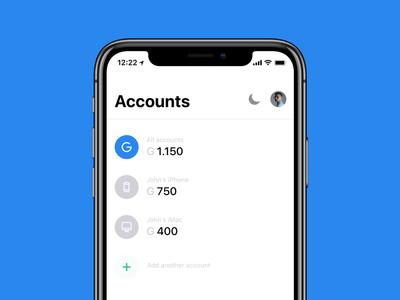 Gulden | Accounts wallet gulden crypto iphone x blockchain e-gulden ios ux ui design finance