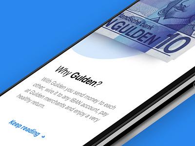 Gulden | Introduction finance design ui ux ios e-gulden blockchain iphone x crypto gulden