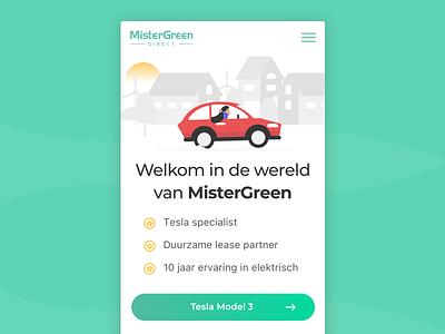 Landingpage - MisterGreen Direct green lease incentro car tesla mobile dutch landing mistergreen