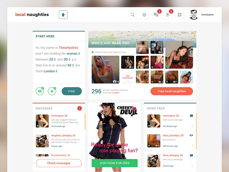 dating site layout