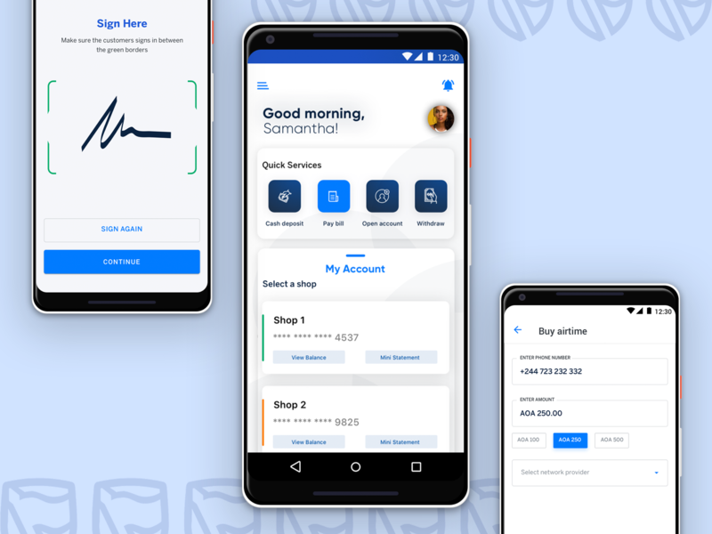 Standard bank Angola- Agent App banking payment app branding app android ux user interface design userinterface ui user experience design bank app
