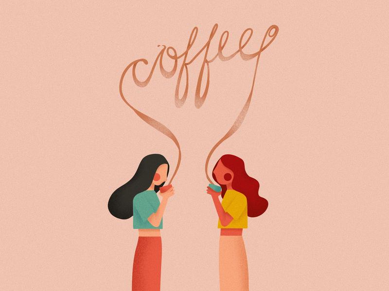 Coffee ipadpro procreate flat typography illustration design art