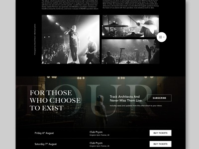 Architects Site Design   Teaser 01 ticket tour band rock ux fan made black indesign web design music metalcore arcitects design website photoshop unsplash minimal ui