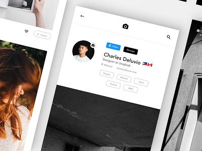 Mobile App | Unsplash Profile Teaser 1 iphone 8 xd adobe ui mobile unsplash app stock imagery
