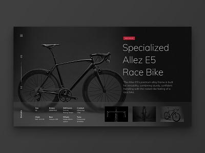 Layout 1.4 | Bike Landing Page red dark black e-commerce bike design website unsplash minimal landing page ui
