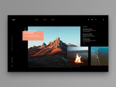 Layout 1.7   Travel blog/article page blog article landing mountains peach dark black travel minimal website unsplash ui