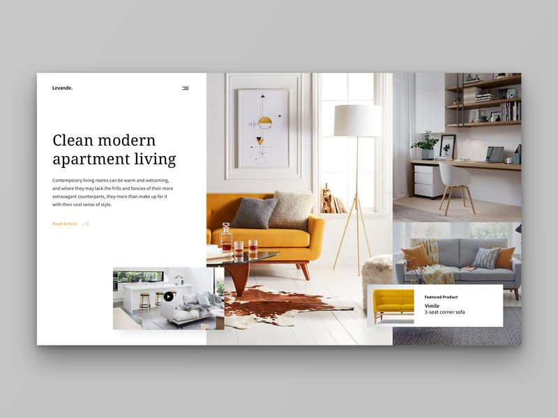 Layout 2.1   Interior design article site modern scandinavian yellow furniture interior minimal website design ui
